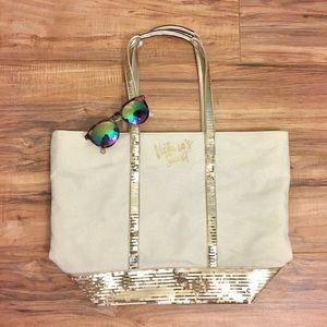 Gold sequin Victoria Secret tote
